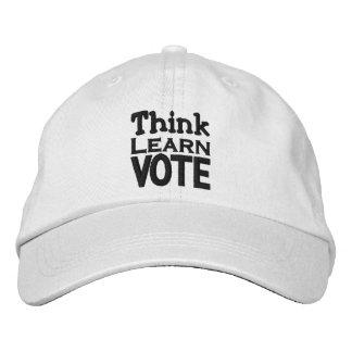 Piense aprenda vote gorra de béisbol
