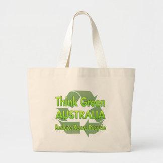 Piense Australia verde Bolsa Tela Grande