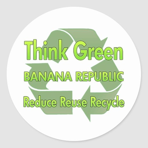 Piense Banana Republic verde Pegatina