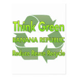 Piense Banana Republic verde Tarjetas Postales