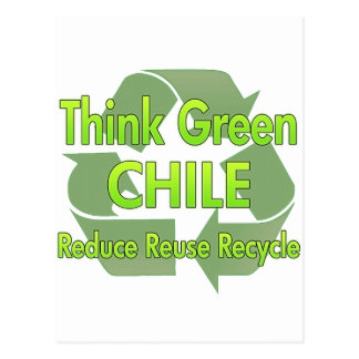 Piense Chile verde Postales
