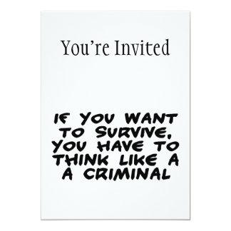 """Piense como un criminal invitación 5"""" x 7"""""""