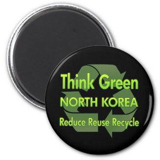 Piense Corea del Norte verde Imán Redondo 5 Cm