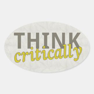 Piense críticamente a los pegatinas pegatina ovalada