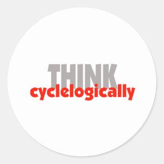 ¡PIENSE cyclelogically! Pegatina Redonda