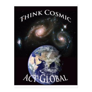 piense el acto cósmico global tarjeta postal