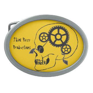 Piense el amarillo de la hebilla del cinturón de l hebilla cinturón oval