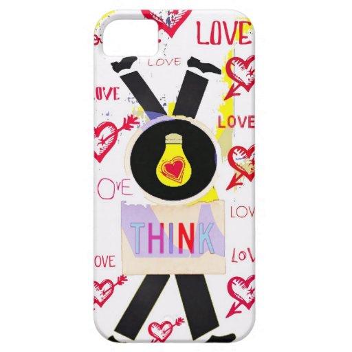 Piense el amor en la cabeza del amor sobre los iPhone 5 carcasas