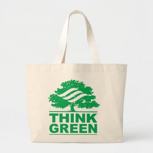 Piense el bolso de ultramarinos verde bolsas