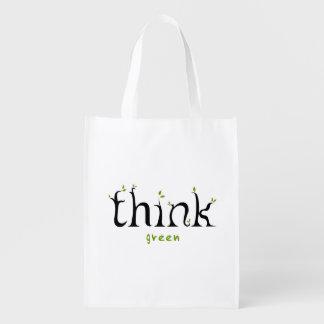 Piense el bolso del amante de la tierra verde bolsa de la compra