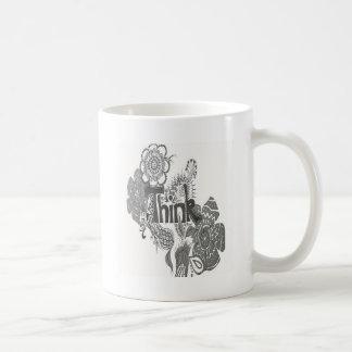 Piense el bosquejo del lápiz taza de café