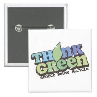 Piense el botón verde del cuadrado del Día de la T Pin