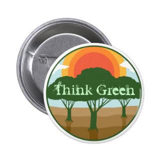 Piense el botón verde pin redondo de 2 pulgadas
