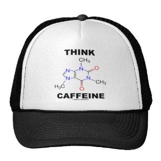 Piense el cafeína (la molécula química del cafeína gorro de camionero