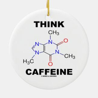 Piense el cafeína (la molécula química del adorno redondo de cerámica