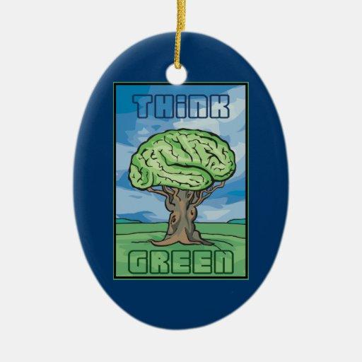 Piense el cerebro verde adorno navideño ovalado de cerámica