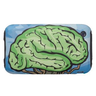 Piense el cerebro verde tough iPhone 3 protectores