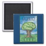 Piense el cerebro verde imán