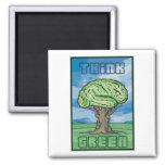 Piense el cerebro verde imanes de nevera