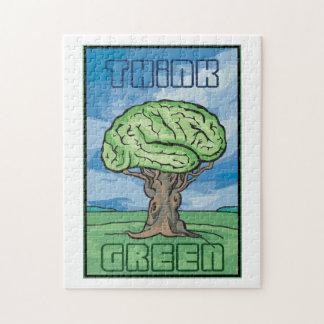 Piense el cerebro verde puzzle con fotos