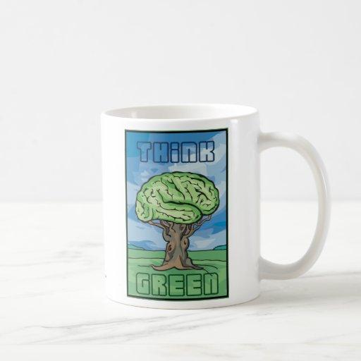 Piense el cerebro verde taza
