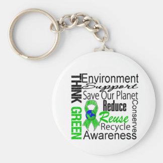Piense el collage verde del ambiente llavero personalizado