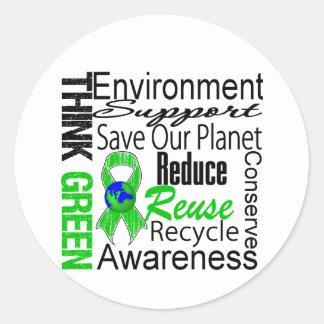 Piense el collage verde del ambiente pegatinas redondas