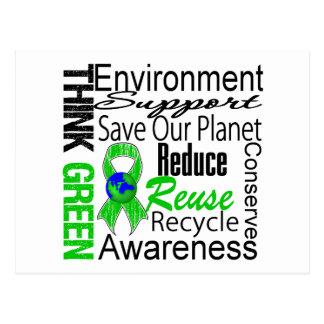 Piense el collage verde del ambiente postales