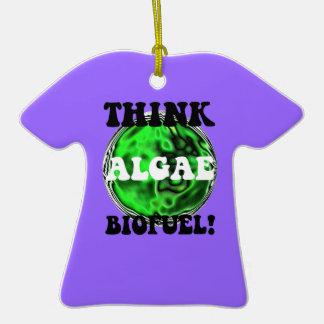 piense el combustible biológico de las algas adorno de cerámica en forma de playera