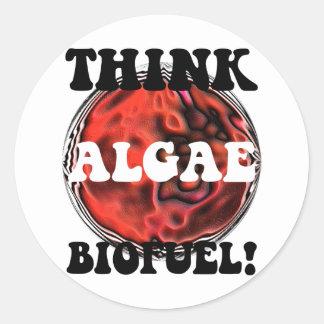Piense el combustible biológico de las algas pegatina redonda