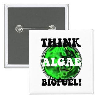 ¡Piense el combustible biológico de las algas! Pin Cuadrado