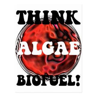 Piense el combustible biológico de las algas tarjeta postal