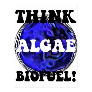 Piense el combustible biológico de las algas tarjetas postales