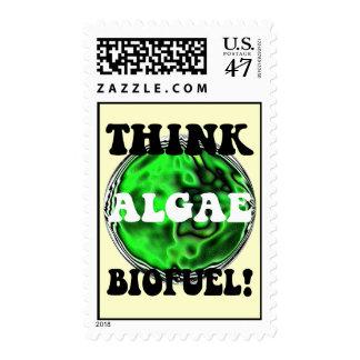Piense el combustible biológico de las algas timbres postales