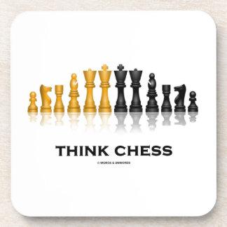 Piense el consejo reflexivo del ajedrez del juego posavasos
