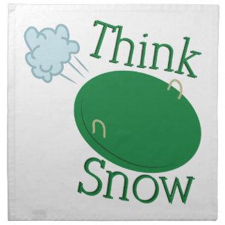 Piense el disco de la nieve servilletas imprimidas