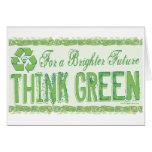 Piense el engranaje verde del Día de la Tierra Tarjeta