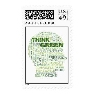 Piense el franqueo verde de la nube de la palabra