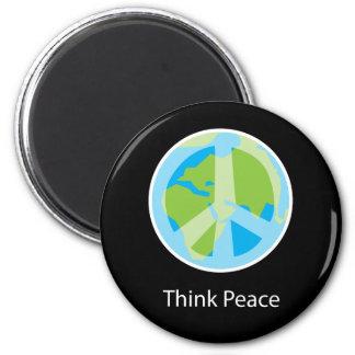 Piense el imán del refrigerador de la paz