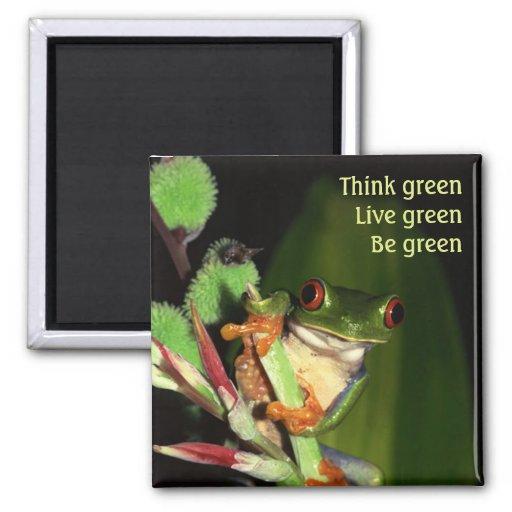 Piense el imán verde