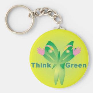 Piense el llavero de la pulgada 1-4 del verde 2