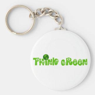 Piense el llavero verde del globo