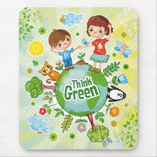 Piense el mousepad verde de los niños de Eco Alfombrillas De Ratones