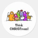 ¡Piense el navidad! Pegatina Redonda