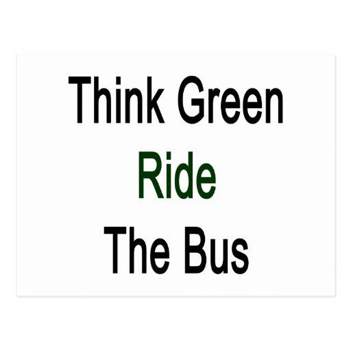 Piense el paseo verde el autobús postal
