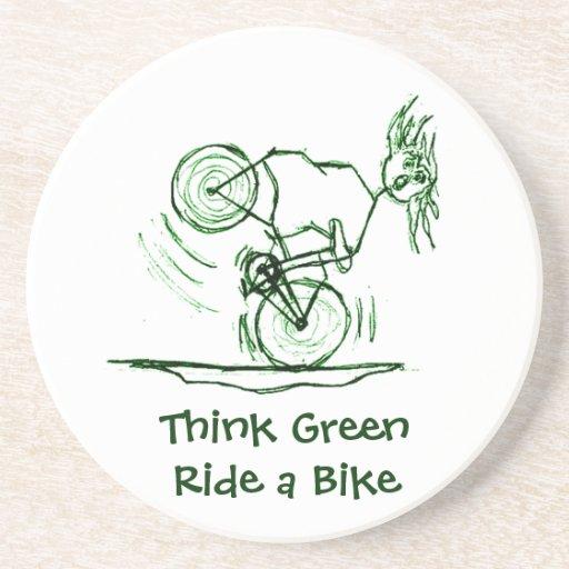 Piense el paseo verde una bici posavasos para bebidas