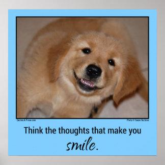Piense el perrito sonriente del golden retriever d póster