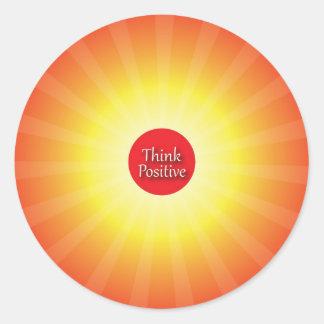 Piense el positivo pegatina redonda