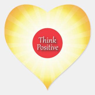 Piense el positivo calcomanía de corazón personalizadas