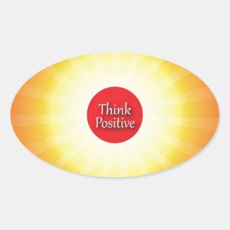Piense el positivo pegatina de ovaladas